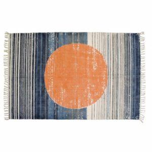 hk-living-storebror-vloerkleed-cirkel-oranje-blauw-katoen-ibt0002